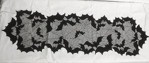 "Lace Table Runner 13"" x 42"" Black Bats Spider Web Kitchen Livingroom Dining Room"