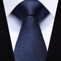 Mens Necktie Slim Check Navy Blue Narrow Natural Silk Men Party Wedding Male Tie