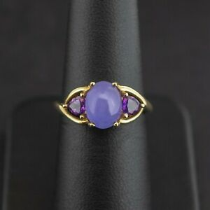 (PA2) 9ct Yellow Gold Cabochon Amethyst Trilogy Ring Size M