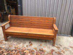 "c1900 vintage oak state hospital CT bench 6' x 36"" x 26"" original finish SOLID"