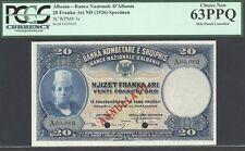 Albania, 20 Franka Ari, ND(1926), P3s, Specimen, Choice Unc, PCGS 63PPQ,
