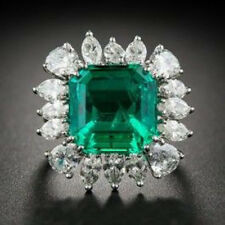 925 Sterling Silver Cz 10Ct Green Asscher White Round Marquise Amazing Ring Gift
