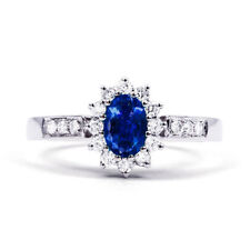 Engagement Oval Sapphire White Gold Fine Rings