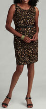 NEW Connected Apparel Women's Animal Print Belted Dress Brown multi (kiwi)- 6