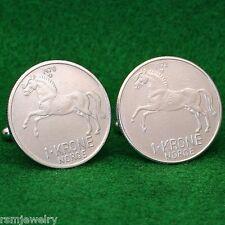 Norwegian Stallion Horse Coin Cufflinks, 1 Krone Crown Norway Norge Scandinavian