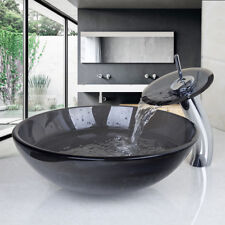 Bathroom Vessel Washbasin Tempered Glass Sink Set Countertop Faucet Pop-Up Combo