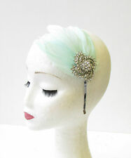 Mint green silver feather headband fascinator coiffe vintage strass 1409