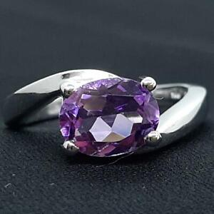 World Class 2.25ctw Amethyst Oval Cut 925 Sterling Silver Ring Size 5.5 4g
