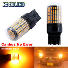 2x T20 7440 WY21W 144SMD Amber Yellow led Car Tail Reverse Backup Light Bulbs