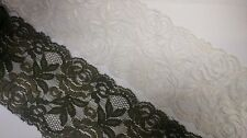 """2 yards Olive Rose Double Scalloped Stretch Lace Trim 3 1/4""""w S 6-1"""