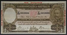 Australian 1934 KGV RIDDLE SHEEHAN - 10 Shillings with Red Overprint R10 Scarce