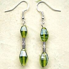 New Pair Green Indian Glass Drop Earrings Sterling Silver Hooks Dangle LB360