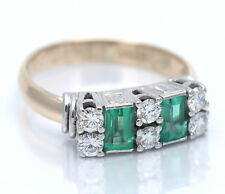 ART DECO 1914 : ANTIKER SMARAGD RING BRILLANT 0,90 CT 585 / 14 KT GOLD EMERALD
