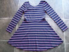 BNWT Girl's Target Navy & Pink Stripes Cotton Knit Long Sleeve Dress Size 10