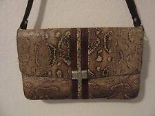 Vintage Genuine Natural Color Snake Skin and Dark Brown Leather Purse/Handbag,