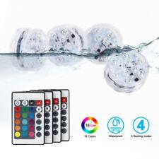 4PCS Submersible LED Lights Remote Control 16 Colors for Aquarium Pool Pond