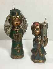 Pair of Vintage Angel And Boy Candles Wax Christmas Decorations Holiday