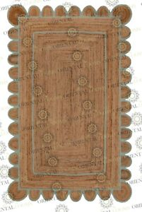 Scallop Jute Powder Blue Hand Made Rug, Bohemian Decor, Customize in Any Size...