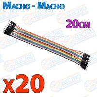 20 cables jumper protoboard de 20cm - Macho/Macho cable jumpers - Arduino Electr