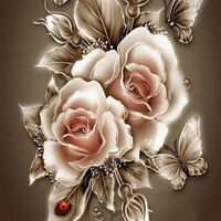 Rose Flower Butterfly 5D Diamond Painting Embroidery Cross Stitch DIY Home Decor