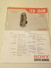 Sony Service Manual for the Icb 300w walkie talkie System Original Repair Oem