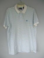 Chaps Men's Size L 100% Cotton Blue and White Striped Short Sleeve Polo Shirt