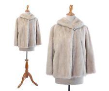 White Fur Coat Real Fur Jacket Vintage Azurene Wedding Bridal Swing Short 1950s