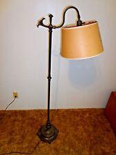 Antique Art Nouveau Brass Chair Side Reading Floor Lamp