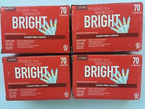 SET of FOUR (4) NEW Boxes, Living Solutions 70 Clear Mini Lights, FREE SHIPPING!