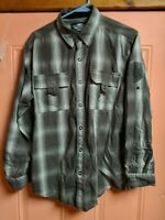 Harley Davidson long sleeve shirt olive plaid snap button front back