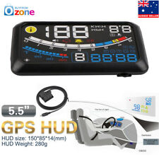 """Car HUD Head Up Display OBD2 EUOBD 5.5"""" GPS MPH/KM Speed Warning Speedometer"""