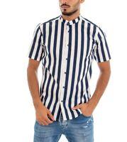 Camicia Maniche Corte Uomo MOD Collo Coreano Blu e Bianca Cotone GIOSAL