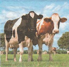 2 Serviettes en papier Vache pré - Paper Napkins Cows