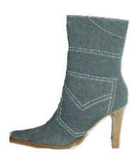 DOLLHOUSE Faded Denim Tall Stiletto Ankle Boots