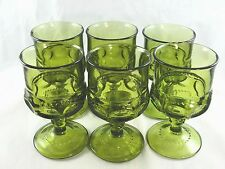 """Indiana Colony King's Crown Thumbprint Green Goblet 4.25"""" USA (Set of 6)"""