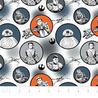 Star Wars The Force Awakens Badges White Camelot 100% cotton Fabric by the yard