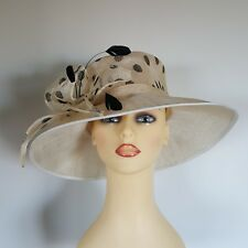 Ladies Wedding Hat Races Mother Bride Ascot Cream Black Spots By Balfour England