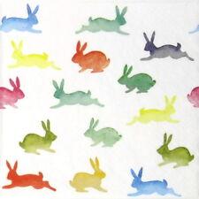 TOVAGLIOLI di carta 4x-CONIGLI colorato-per feste, Decoupage CRAFT