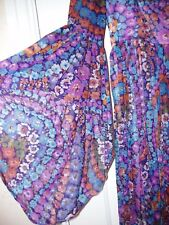 QUAD VINTAGE FLOWER POWER ERA 60 / 70s LONG FLOATY MAXI DRESS MARKED LINING 6 8