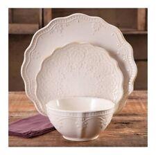 12-PC Elegant Dinnerware Farmhouse Lace Set, Dishes Plates & Bowls, Linen Color
