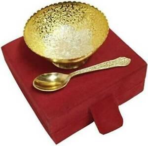 Valentine Gift Lovely Brass Bowl+Spoon Set in Velvet Box Home DECOR Collectible