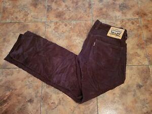 Levis Mens 514 Brown Straight Leg Corduroy Pants Size 32X30 GUC