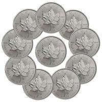 Lot of 10 - 2018 Canada 1 oz Silver Maple Leaf $5 Coins SKU49795