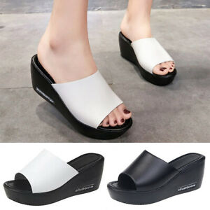 Women's Summer Wedge Sandals Slip On Slippers Holiday Beach Flats Casual Shoes