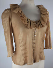New sz S Ralph Lauren Black Label sweater antique gold bronze cardigan dress