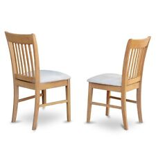 East West Furniture Kitchen Dining Chair With Cushion Seat -Oak Finish, Set Of 2