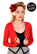 Plain Bolero by BANNED Shrug Cropped Top Long Sleeve 16 18 20 Plus Size Over Red XL (uk 16)