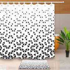 Black & White Geometric printing Waterproof Fabric Bath Shower Curtain & Hooks