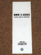 1994 BMW 3 SERIES SALOON COUPE CONVERTIBLE Price List (E36) inc M3 325i 318iS