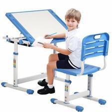 Adjustable Children's Desk Chair Set Students Study Desk Kids Study Table Blue